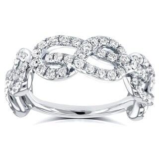 Annello 14k White Gold 5/8ct TDW Womens Infinity Knot Diamond Ring (G-H, I1-I2)