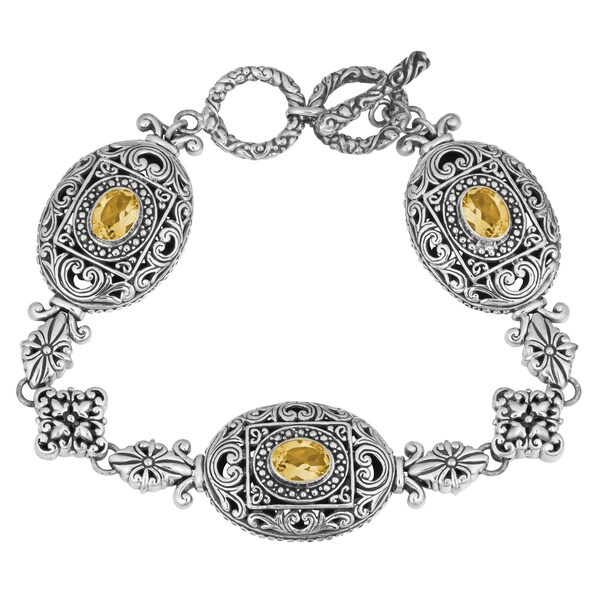Sterling Silver, Citrine Bali Blossoms Cawi Toggle Bracelet (Indonesia)