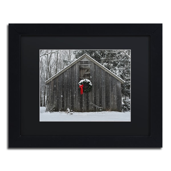Kurt Shaffer 'Christmas Barn in the Snow' Black Framed Canvas Wall Art