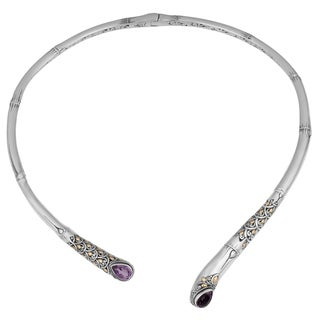 Sterling Silver, 18K Gold, Amethyst Bamboo Cawi Necklace (Indonesia)
