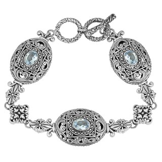Sterling Silver, Blue Topaz Bali Blossoms Cawi Toggle Bracelet (Indonesia)