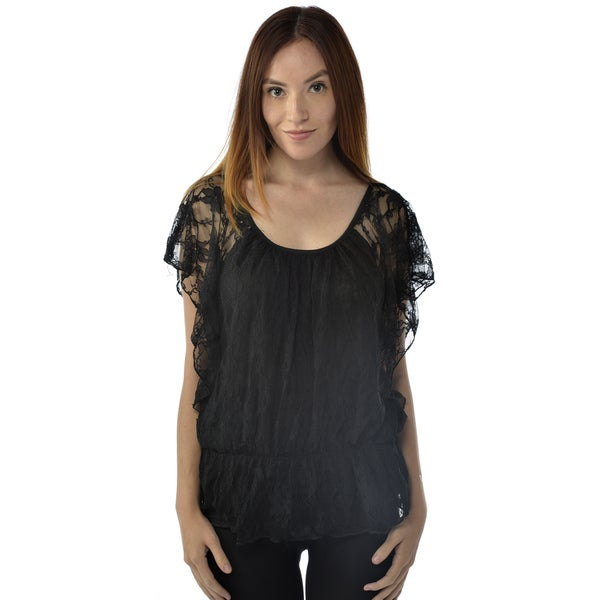 Leisureland Women's Black Lace Top Blouse