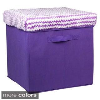 Home Basics Striped Fuzzy Top Storage Ottoman