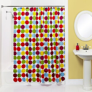 Bath Bliss Colorful Circles Shower Curtain and Hooks Set