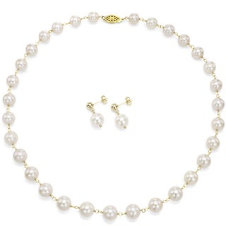 DaVonna Gold over Silver White Freshwater Pearl and Links Jewelry Set