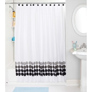 Bath Bliss Faded Circles Shower Curtain and Hooks Set