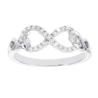 H Star Sterling Silver 1/8ct TDW Diamond Infinity Ring (H-I, I1-I2)