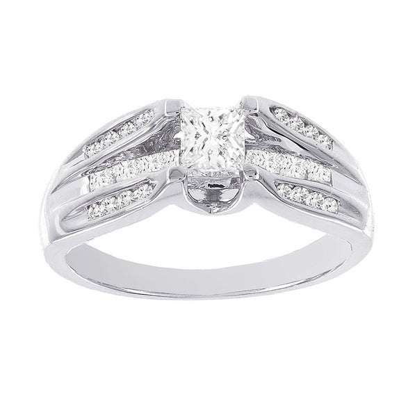 H Star 14k White Gold 7/8ct TDW Diamond Engagement Ring (H-I, I1-I2)
