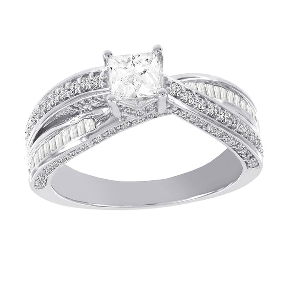 H Star 14k White Gold 1 1/4ct TDW Diamond Engagement Ring (H-I, I1-I2)
