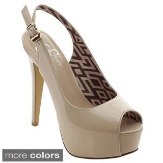 Shake Collection Caddie Women's Peep Toe Slingback Stiletto Heel