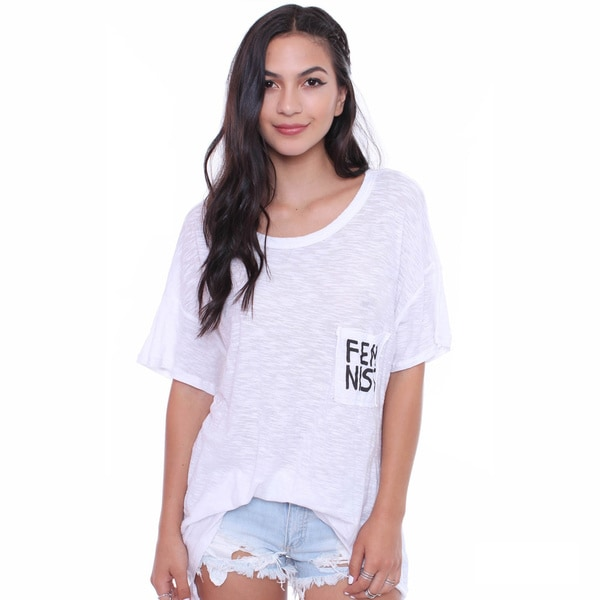 Michelle Juniors' Oversized Tee with 'Feminist' Print On Pocket