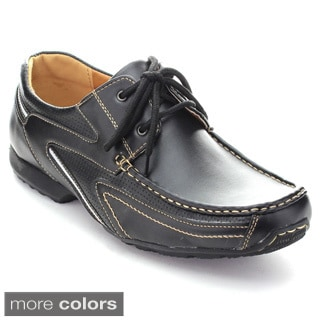 Roucs Cas-904s Men's Low Top Lace Up Perforated Moccasin Casual Oxfords