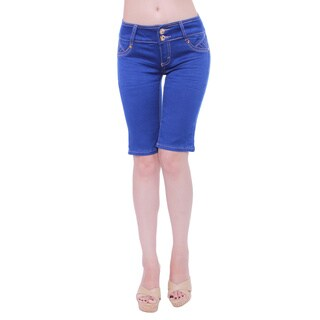 Sexy Couture Women's S2115-b Mid Rise Knee Length Denim Shorts