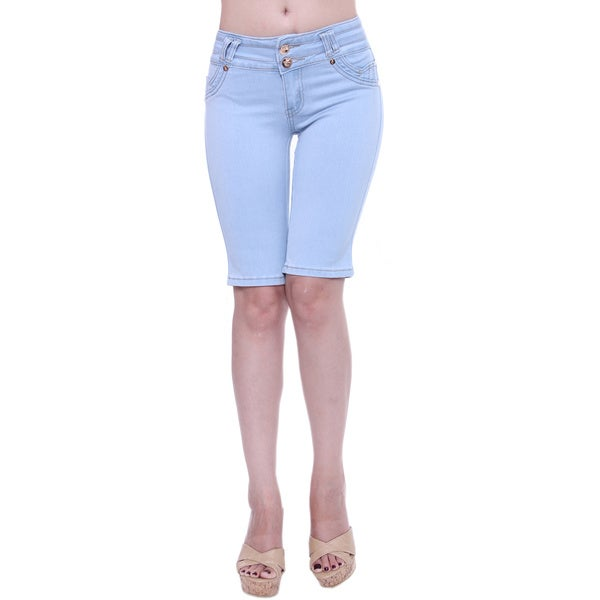 Sexy Couture Women's Mid Rise Knee Length Denim Shorts
