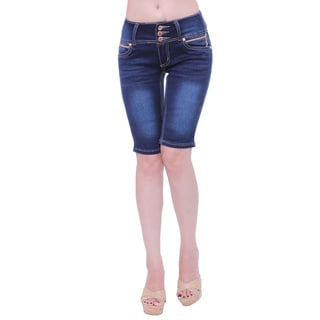 Sexy Couture Women's S2118-b Mid Rise 3-button Knee Length Denim Shorts