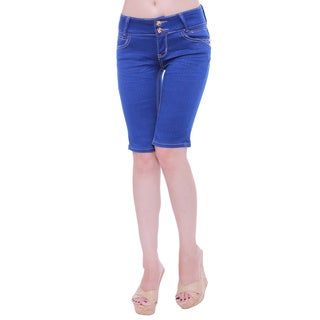 Sexy Couture Women's S2120-b Mid Rise Knee Length Denim Shorts