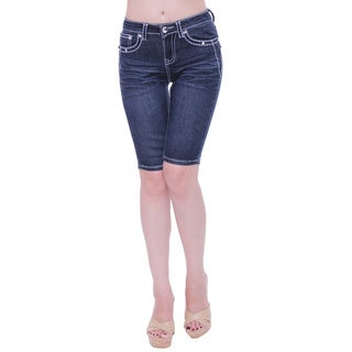 Sexy Couture Women's S81-b Mid Rise Knee Length Denim Shorts