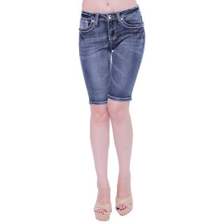 Sexy Couture Women's S84-b Mid Rise Knee Length Denim Shorts