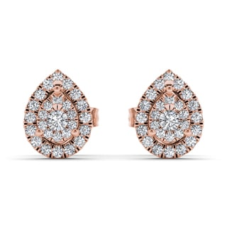De Couer 10k Yellow Gold 1/4ct TDW Diamond Pear-Shaped Halo Earring (H-I, I2)