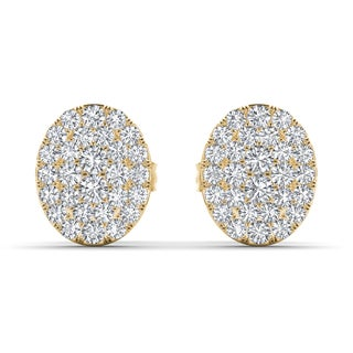 De Couer 10k Yellow Gold 1/10ct TDW Diamond Cluster Earring (H-I, I2)