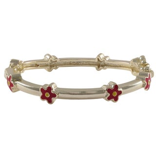 Gold Finish Children's Red Enamel Flower Bangle Bracelet