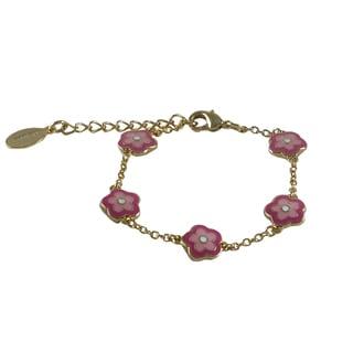 Gold Finish Children's Pink Enamel Flower Link Bracelet