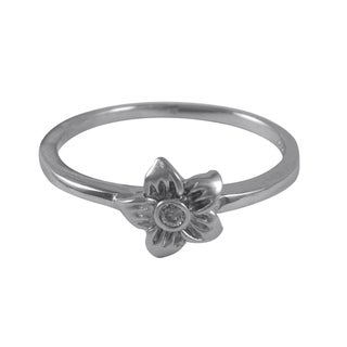 Sterling Silver Children's Cubic Zirconia Flower Ring
