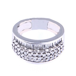 14k White Gold 1 1/2ct Round and Baguette Diamond Ring (H-I, SI1-SI2)