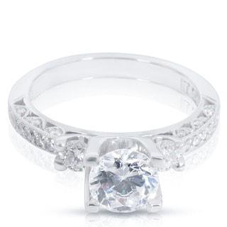Tacori Platinum 3/4ct TDW Cubic Zirconia and Diamond Semi-Mount Engagement Ring (G-H, VS1-VS2)