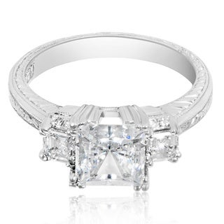 Tacori Platinum 3-stone 3/8 ct TDW Diamond Engagement Ring Setting with Princess CZ Center (G-H, VS1-VS2)
