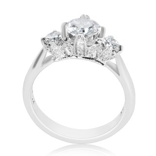 Tacori Platinum 1/2ct TDW Cubic Zirconia and Diamond Semi-Mount Engagement Ring (G-H, VS1-VS2)