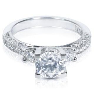 Tacori Platinum 1/2ct TDW Cubic Zirconia and Diamond Semi-Mount Engagement Ring (G-H, VS1-VS2)