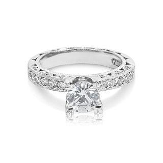 Tacori Platinum and 3/8 ct TDW Diamond Engagement Ring Setting with 6.5 mm Round CZ Center (G-H, VS1-VS2)