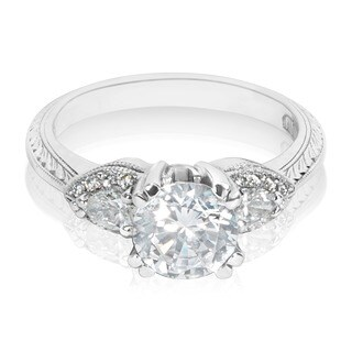 Tacori Platinum 2/5ct TDW Cubic Zirconia and Diamond Semi-Mount Engagement Ring (G-H, VS1-VS2)