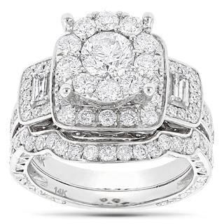 Luxurman 14k White Gold 3ct TDW Diamond Engagement Ring (G-H, SI1-SI2)