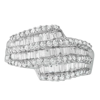 14k White Gold 1 3/5ct TDW Round and Baguette Diamond Ring (H-I, SI1-SI2)