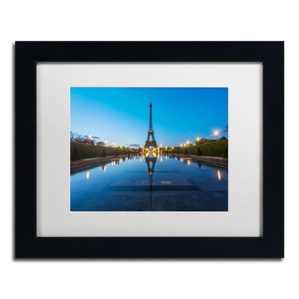 Mathieu Rivrin 'Blue Hour in Front of the Eiffel Tower' Matted Framed
