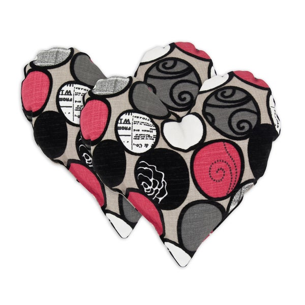 Cobblestone Ebony Heart Shaped Pillows (Set of 2)