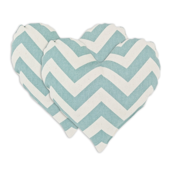 Zig Zag Village Blue Heart Shaped Pillows (Set of 2)