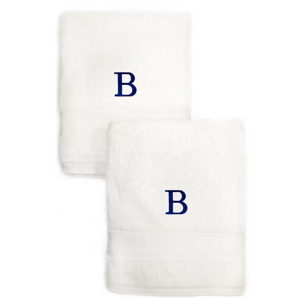 Sweet Kids 2-piece White Turkish Cotton Hand Towels with Royal Blue Monogrammed Initial