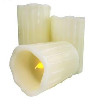 As Seen On TV LED Beeswax Drip Flameless Pillar Candles (3-piece Set)