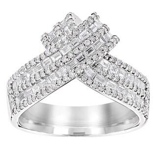 Luxurman 14k Gold 1 1/3ct TDW Diamond Criss-cross Ring (G-H, VS1-VS2)