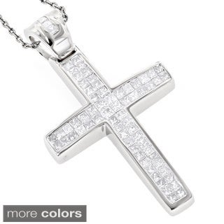 Luxurman 14k Gold 1 1/4ct TDW Diamond Cross Pendant (G-H, SI1-SI2)
