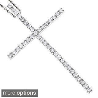 Luxurman 14k White Gold 1ct TDW Diamond Cross Necklace (G-H, SI1-SI2)