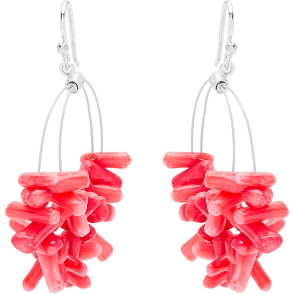 Pink Coral Hoop Earrings
