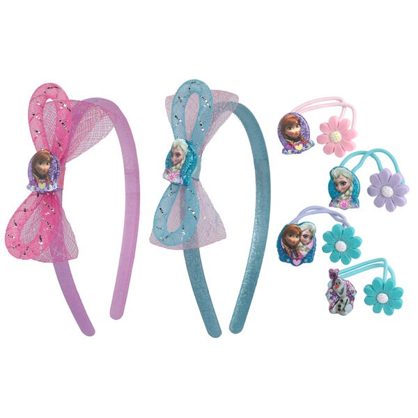 Disney Frozen Elsa and Anna 2-piece Headhand and 4-piece Hair Ties Set