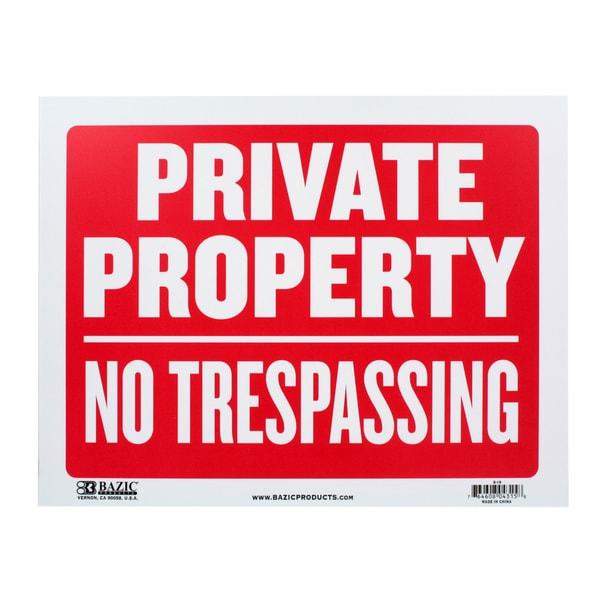 Bazic Small Private Property, No Trespassing Sign