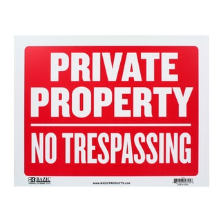 Bazic Small Private Property, No Trespassing Sign