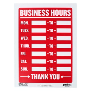 Bazic Small Business Hours Sign