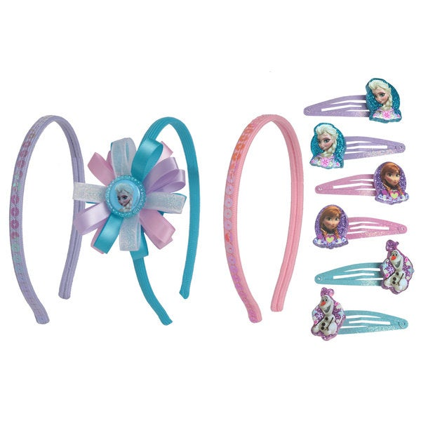 Disney Frozen 2-piece Text Glitter Bows Headband and 6-piece Snap On Set